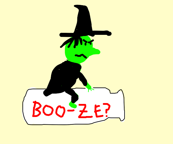 witch riding a milk bottle labeled as whiskey