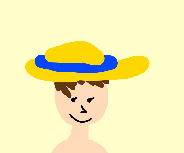 pixie haired woman in sunhat