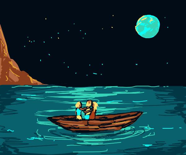three people hugging on boat at night