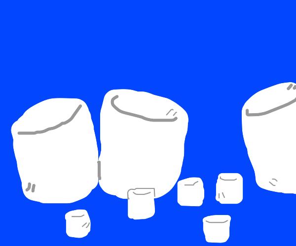 Big and small marshmallows