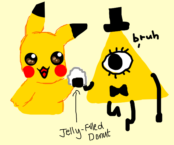 pikachu and bill cypher share a donut