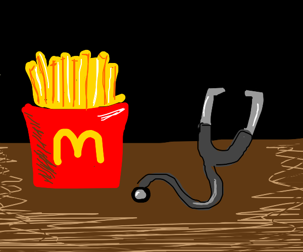Mcdonalds fries with a stethoscope