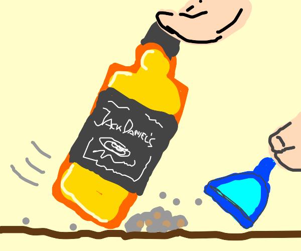 Bottle o' Jack Daniels sweeping the floor