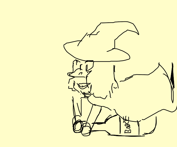 witch riding a boo-ze bottle