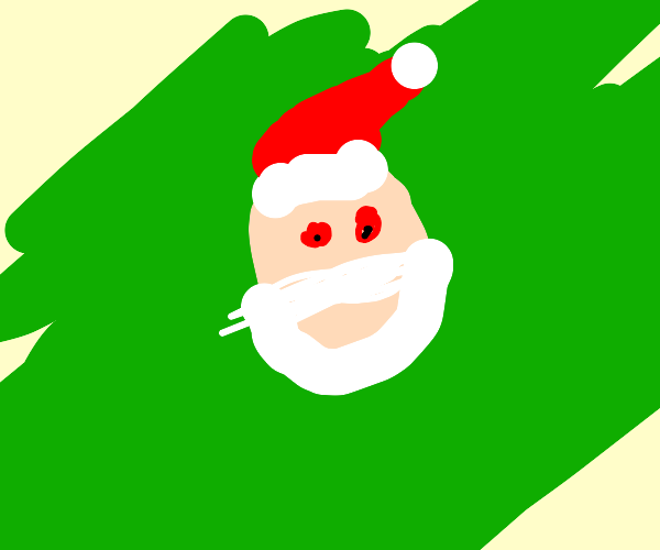 Terrifying Santa with glowing red eyes (evil)
