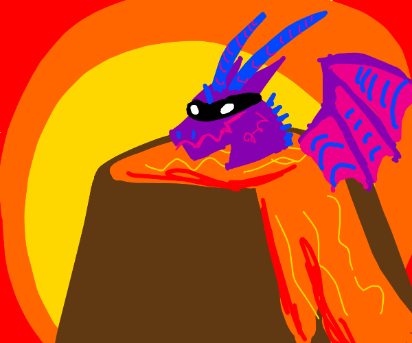 Masked Dragon in a Volcano