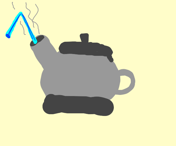 tea kettle with a straw