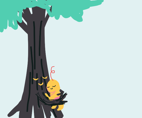 A tree Is hugging it's human baby