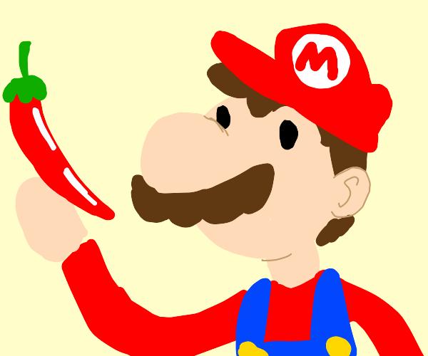 Mario holding a chili pepper