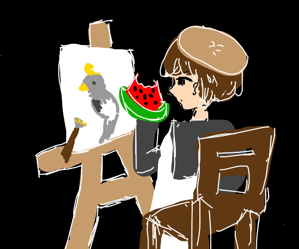 Painter eating a Watermelon