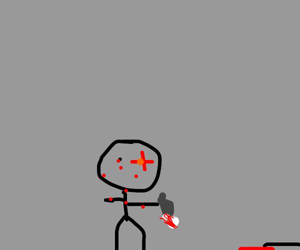 Bloody serial killer with glowing eye.