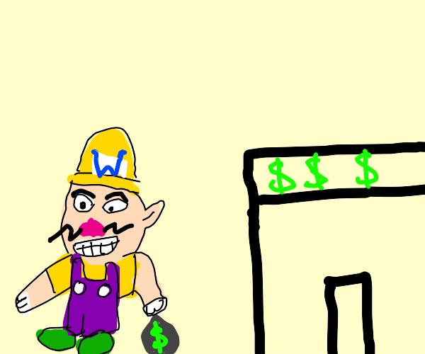 Wario robs a bank