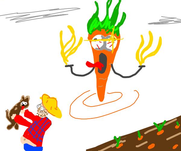 Farmer ignores his God Carrot