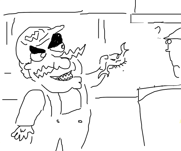 Wario carries a crab to a bank