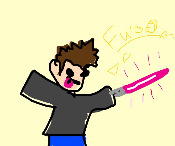 man with pink lightsaber