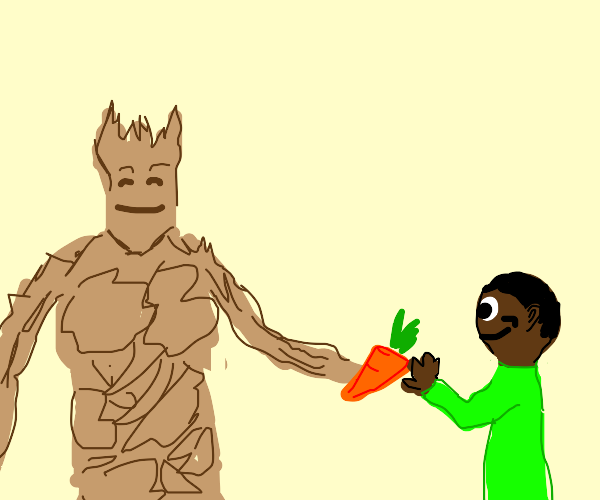Groot handing a carrot to a young lad