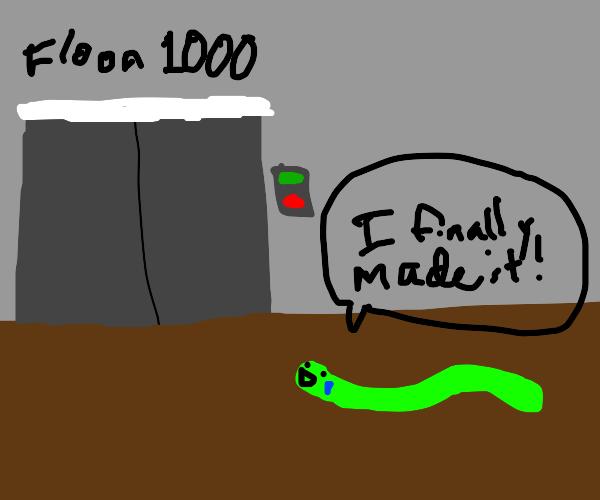 worm weeps in joy as it reaches 1000th floor