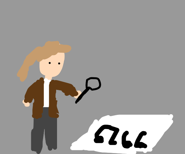 Detective looking at music notes