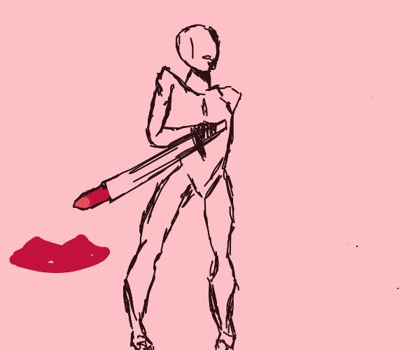 he's got a lipstick sword