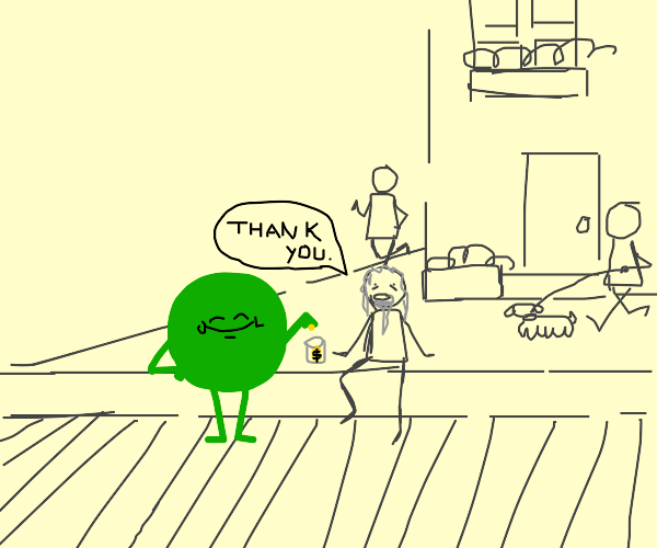 kind green thing gives money to the homeless