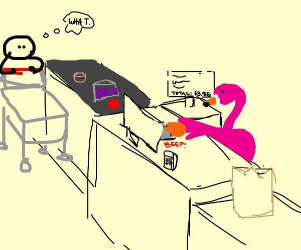 Flamingo working as a cashier
