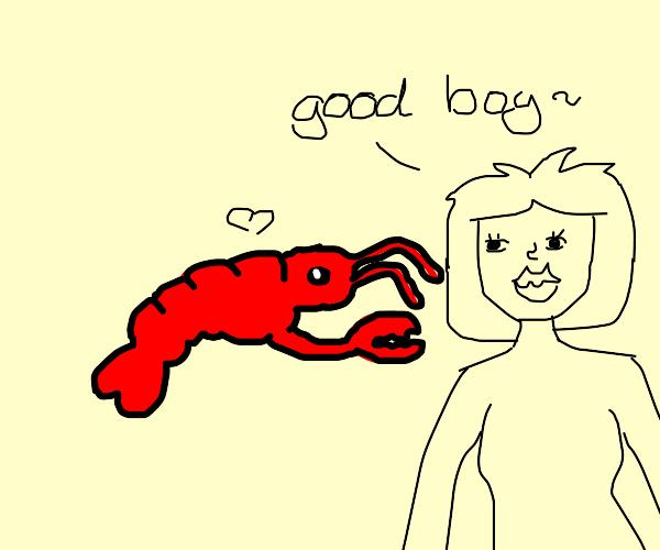 Girl calls lobster a good boi