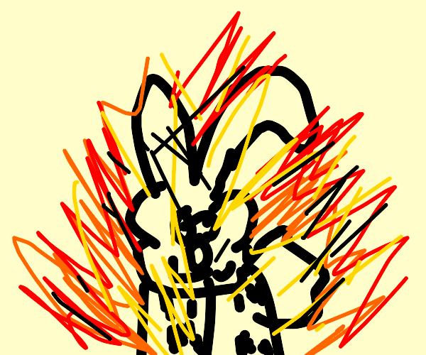 black bunny on fire