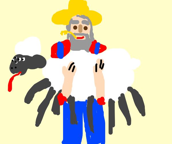 Old man farmer shows off his mutant sheep