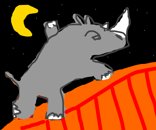 Rhino doing parkour at night