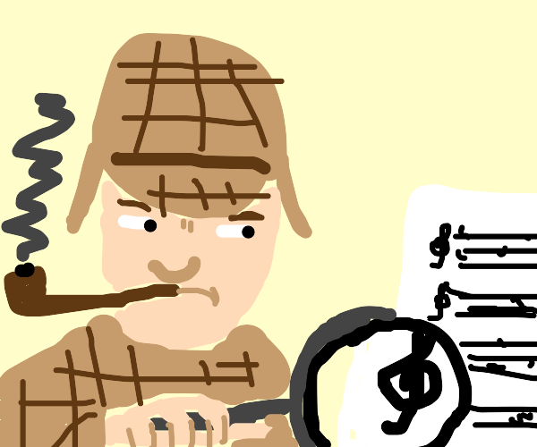 detective with sheet music