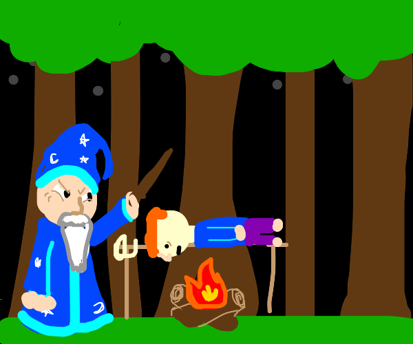 wizard cooking a child