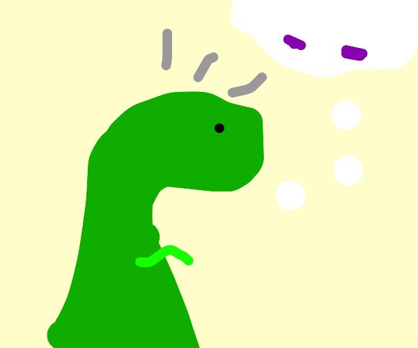 a t-rex with a headache wanting Tylenol