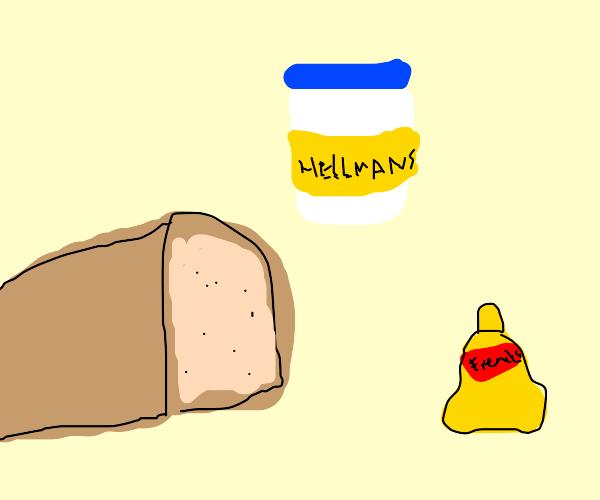 Bread, mayo, and mustard
