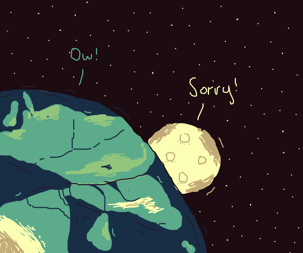 The moon crashes into the earth