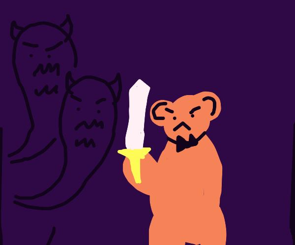 Fancy little bear fights off shadow demons
