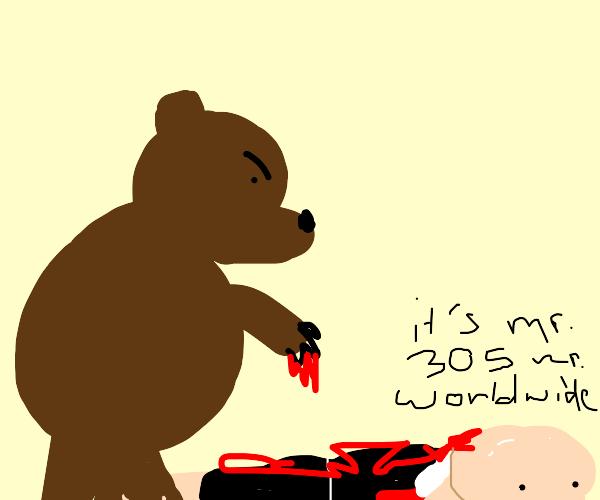 Mr. Worldwide gets mauled by a bear