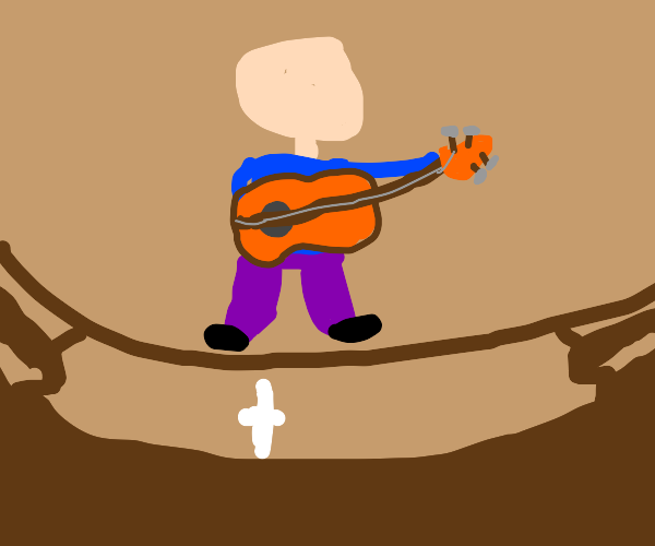 man plays guitar on a string for the church