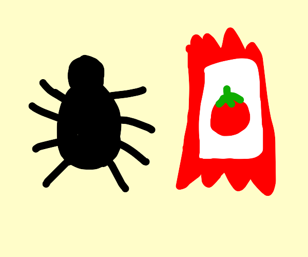 Spider and a ketchup packet