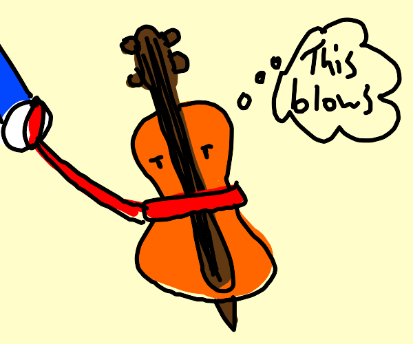 Violin being pulled on a leash