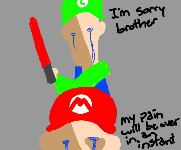 Luigi with Terminal 7 cuts Mario's head off