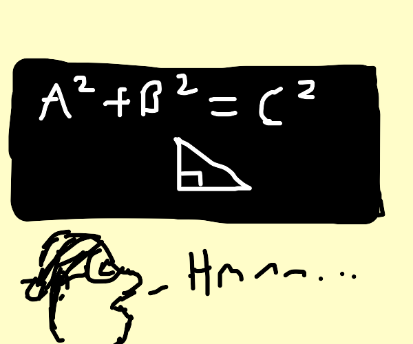 professor staring at the pythagorean theorem