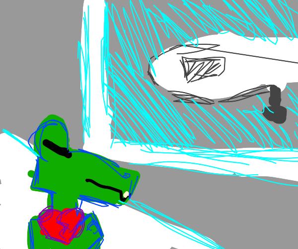 Broken-hearted crocodile in airport