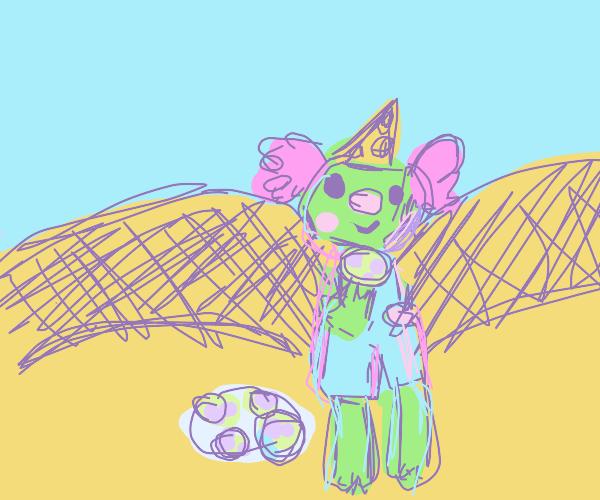 Green Clown has Cookies at the Desert