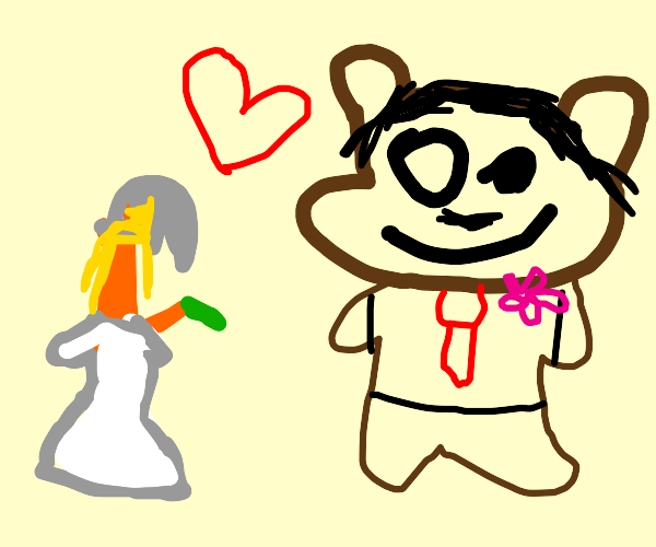 Brown bear getting married to an orange stick