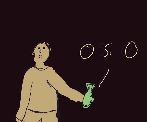 "Man picks up fish that is saying ""o si o"""