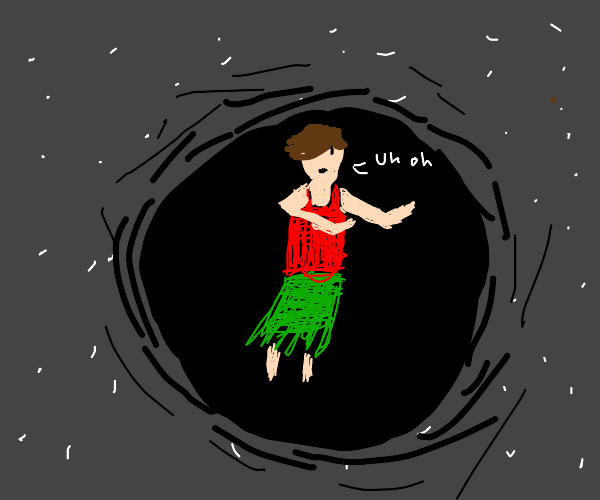 Giant black hole about to suck in hula person