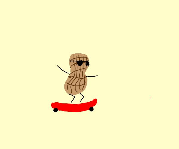 Peanut riding skateboard