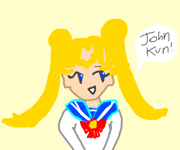 "sailor moon says ""John Kun"""