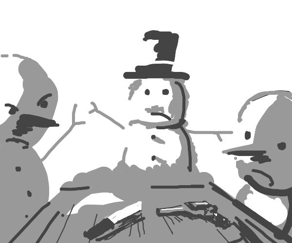 Snowmen at table