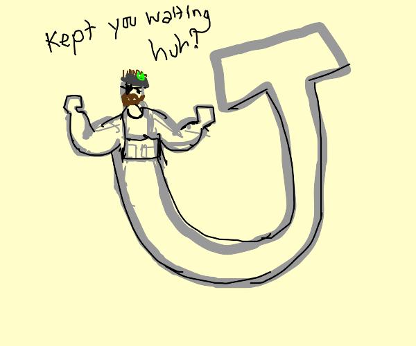 J, but bottom part turns into snake